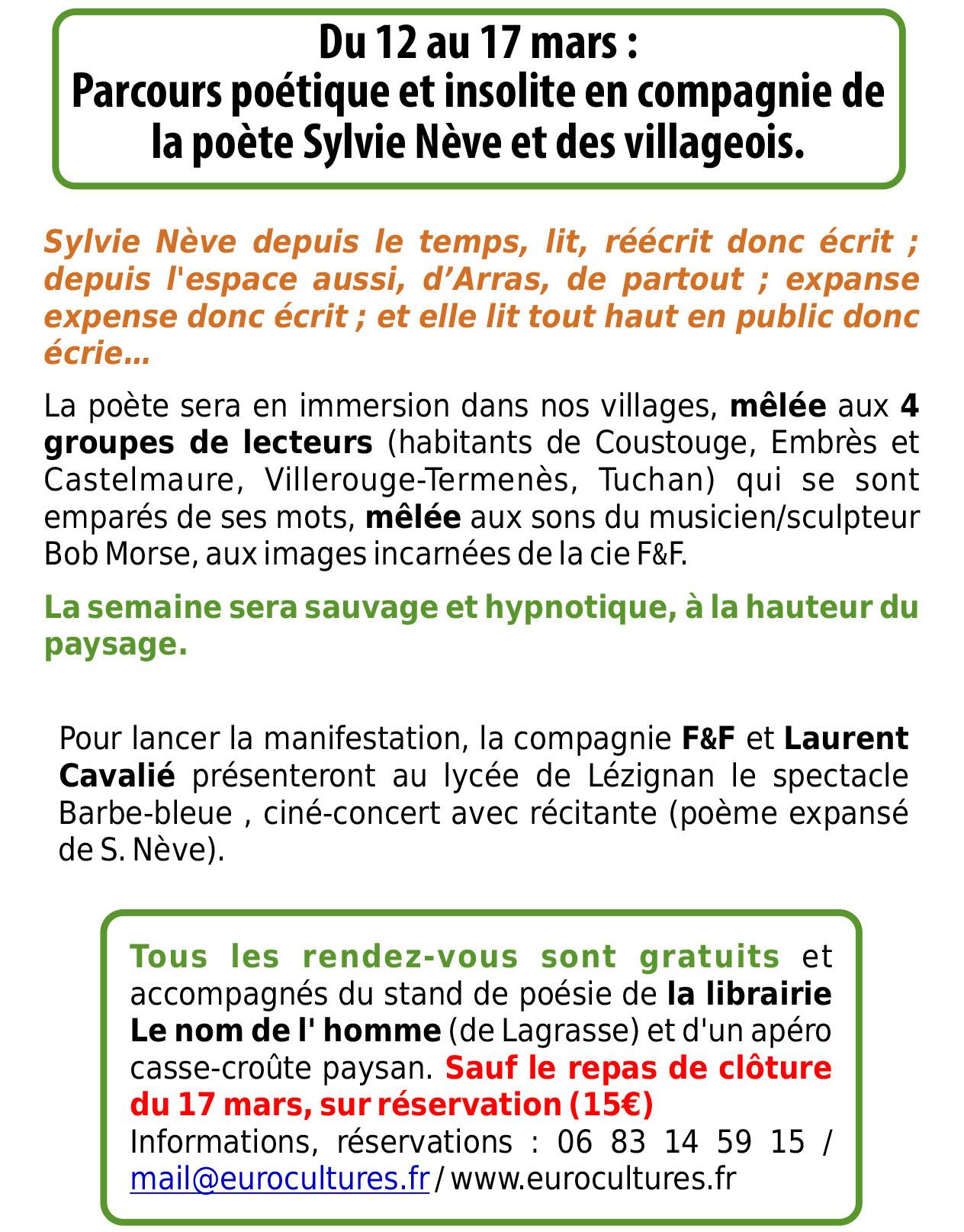 2018 Sylvie Nève Poésie Expansée Eurocultures En Corbières